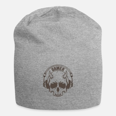 Hacker Gamer skull with horns and headset - Beanie