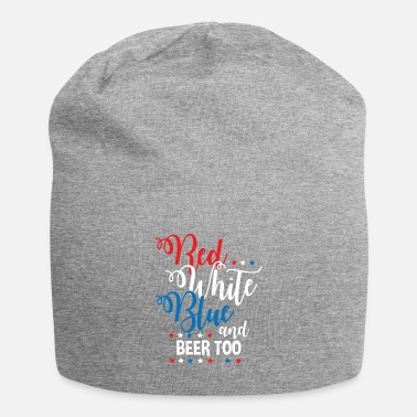Alcohol Red White Blue Beer Funny Fourth of July Apparel - Beanie
