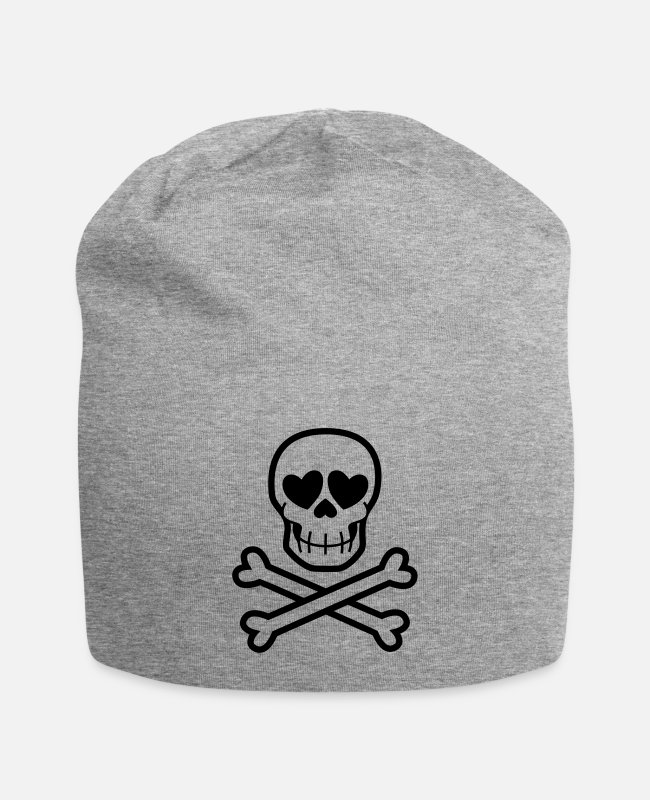 Skull And Crossbones Caps & Hats - Eros & Thanatos Skull and Crossbones by Cheerful - Beanie heather grey