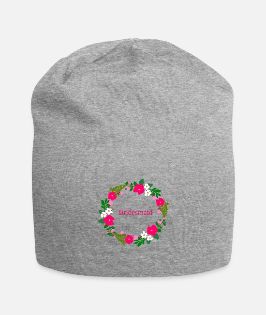 Maid Of Honor Caps & Hats - flower wreath bridesmaid - Beanie heather grey