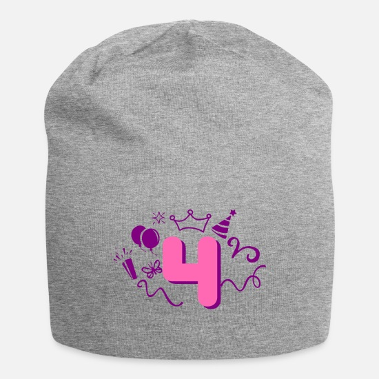 Birthday Caps & Hats - 4th birthday girl - Beanie heather grey