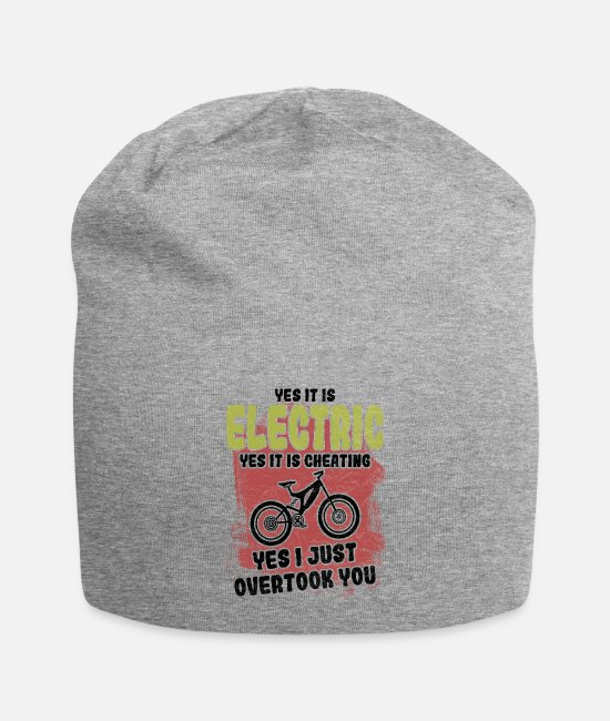 Cycling Caps & Hats - Funny saying with an e-bike mountain bike - Beanie heather grey