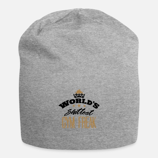 Motivational Caps & Hats - worlds shittest gym freak - Beanie heather grey