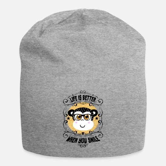 Birthday Caps & Hats - Life is better when you smile - Beanie heather grey