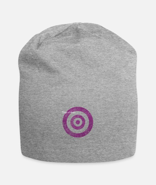 Graphic Art Caps & Hats - target_of_desire_violet - Beanie heather grey