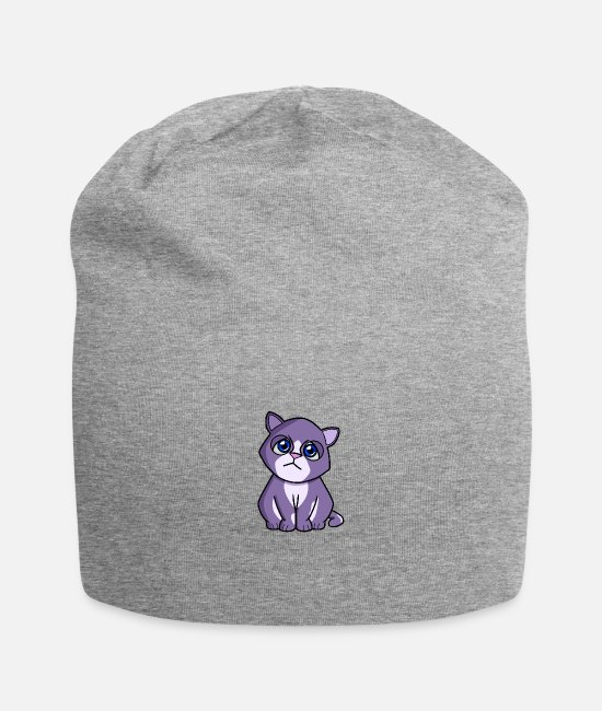 Caress Caps & Hats - Cat purple blue - Beanie heather grey