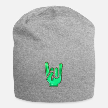 Rock 'n' Roll Rock Hand Gesture Dented Green Red Cool Salute - Beanie