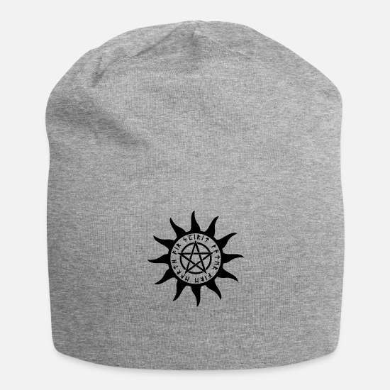 Esotericism Caps & Hats - Water earth fire air ice pentagram esoteric - Beanie heather grey