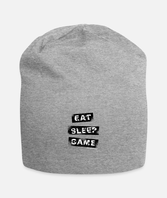 Play Caps & Mützen - Eat Sleep Game, weiß - Beanie Grau meliert