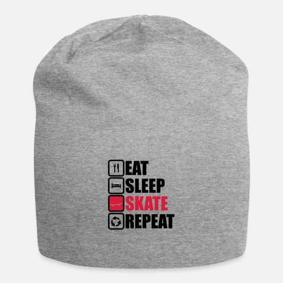 Half Caps & Hats - eat sleep skate repeat - Beanie heather grey