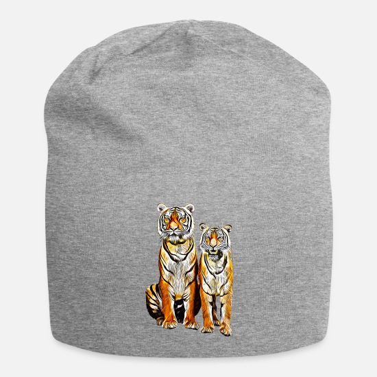 Strong Caps & Hats - gxp tiger couple couple vector art - Beanie heather grey