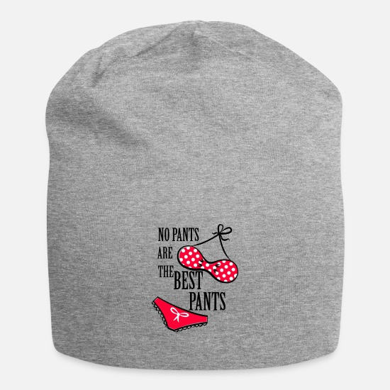 Funny Sayings Caps & Hats - No pants no pants underwear 6 - Beanie heather grey