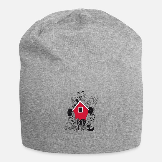 Gift Idea Caps & Hats - Cottage House in the forest with forest animals In gift - Beanie heather grey