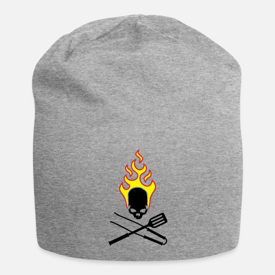 Grill Caps & Hats - fire_skull_cook_112011_g_3c - Beanie heather grey