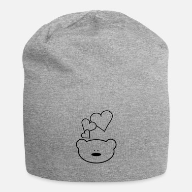Beard Funny teddy bear with hearts - Beanie