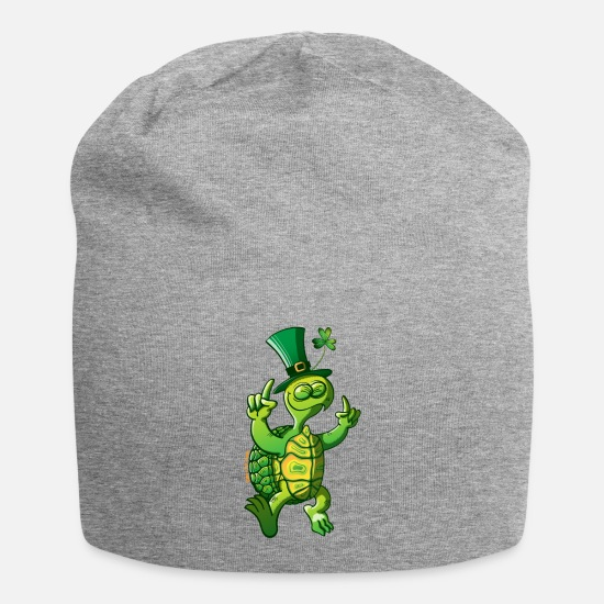 Day Caps & Mützen - St. Patricks Day Turtle - Beanie Grau meliert