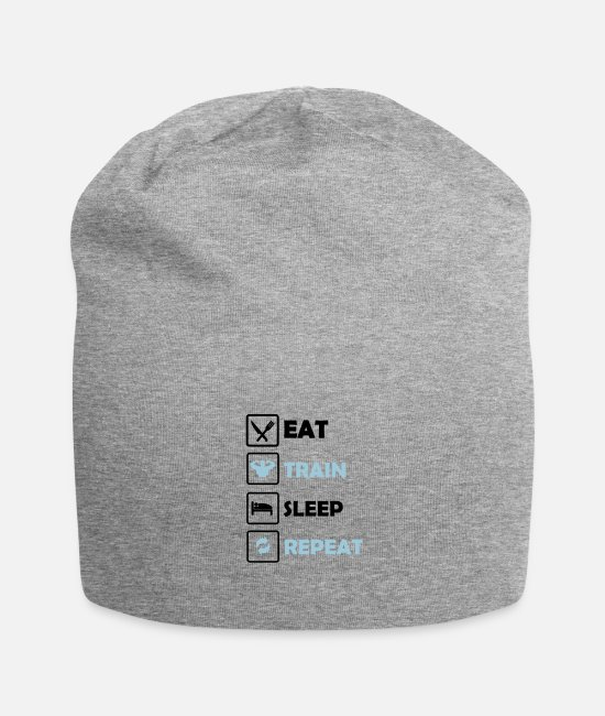 Training Caps & Mützen - Eat Train Sleep Repeat 2 - Beanie Grau meliert