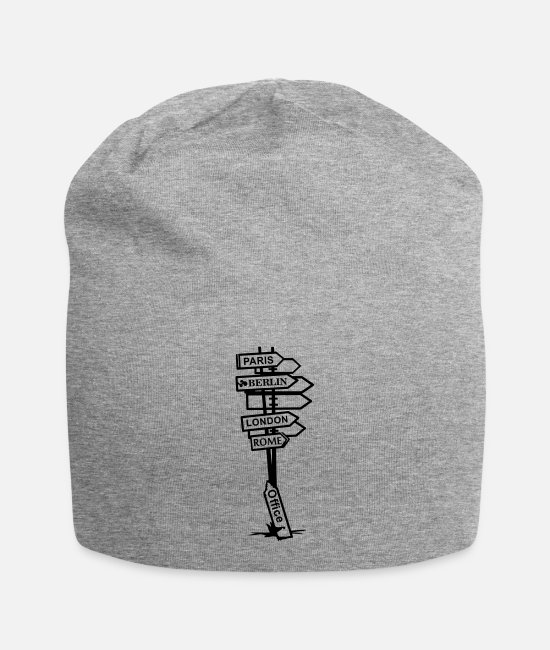 Office Caps & Hats - signs - Beanie heather grey