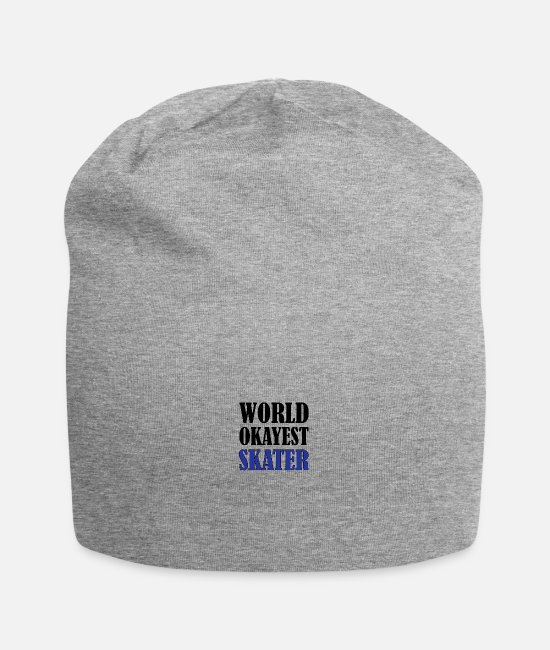 Skating Sayings Caps & Hats - World okayest SKATER - Beanie heather grey