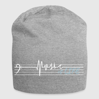 Music is life - bass clef - Jersey Beanie