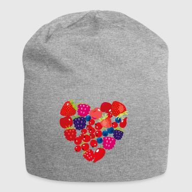 Fruits heart - strawberry cherry raspberry snacking - Jersey Beanie
