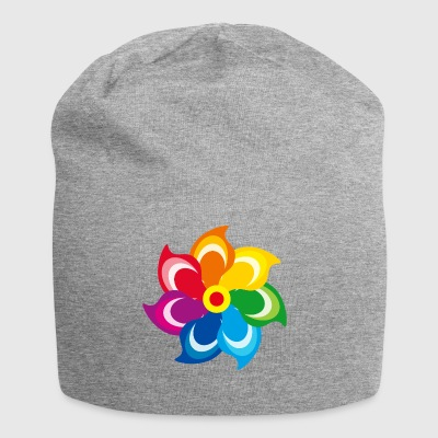 Windmill rainbow summer meadow spring colors - Jersey Beanie