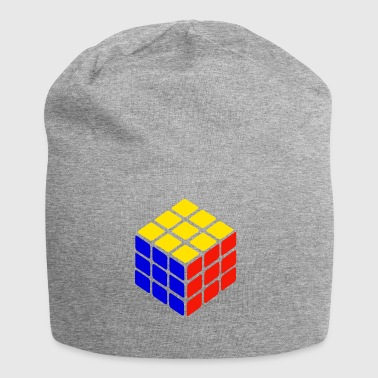 blue yellow red rubik's cube print - Jersey Beanie