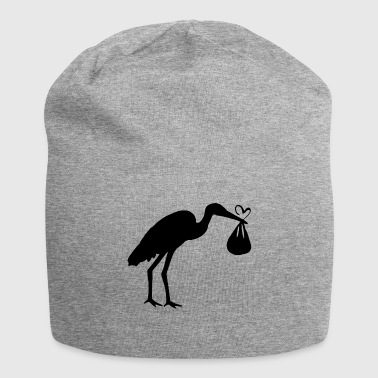 Stork with toddler and heart - Jersey Beanie