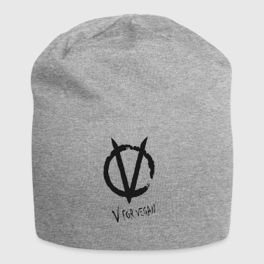 V for Vegan black - Jersey-Beanie