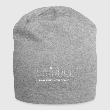 Each move counts chess game gift idea play - Jersey Beanie