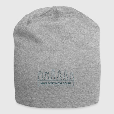 Every move counts chess figures gift idea - Jersey Beanie