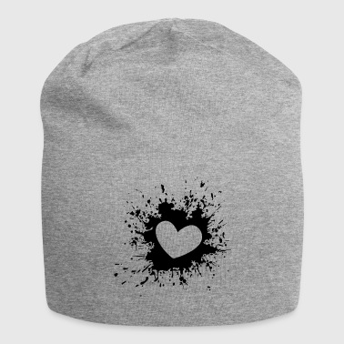 Heart black white - Jersey Beanie
