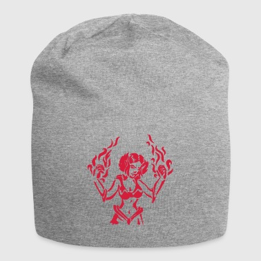 Girl power mage with flames spell RPG fantasy - Jersey Beanie