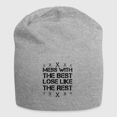 Mess with best loose king queen barber gift - Jersey Beanie