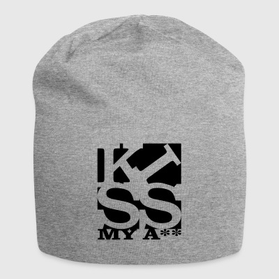 kiss my ass homage to Robert Indiana schwarz ausse - Jersey-Beanie
