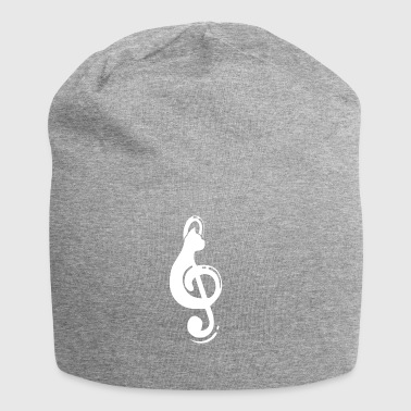 Silhouette Cat Treble Clef Note - Jersey Beanie