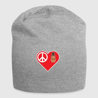 Peace Love Groundhog With Top Hat Bow Tie - Jersey Beanie