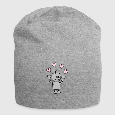 Funny robot juggles with heart - Jersey Beanie
