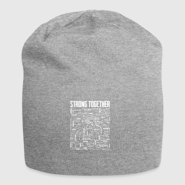 Strong Together Fist with 196 States of the World - Jersey Beanie