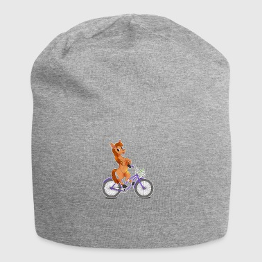 Horse riding on bicycle gift horseback rider kawaii - Jersey Beanie