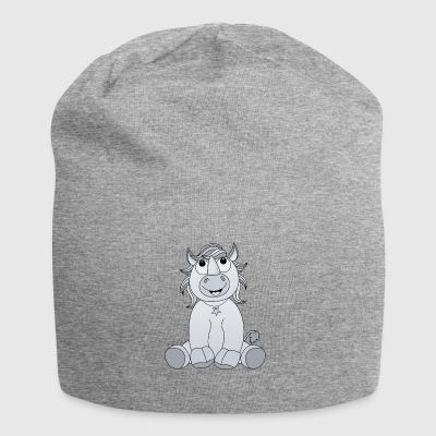Laughing sitting rhinoceros in gray - Jersey Beanie