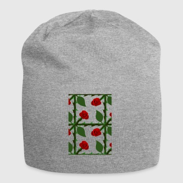 Red Rose Pattern - Jersey Beanie