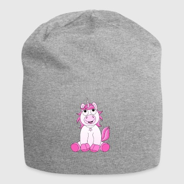 Laughing unicorn in pink - Jersey Beanie