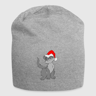 Cat with Christmas hat Christmas gift - Jersey Beanie