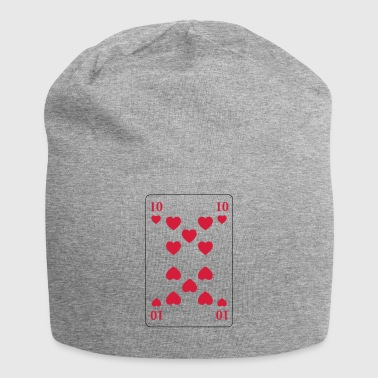 Heart 10 - ten of hearts - Jersey Beanie