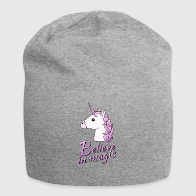 Unicorn head with text Believe in magic in lilac - Jersey Beanie