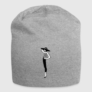 Fashion Top Model en design noir et blanc T-shirt femme - Bonnet en jersey