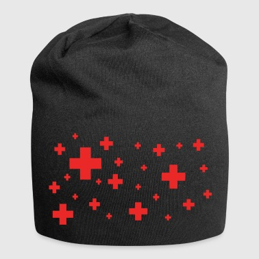 rotes plus - Jersey-Beanie