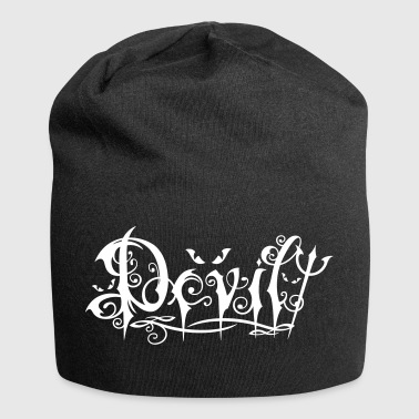 Devil Tattoo lettering logo with trident and eyes. - Jersey Beanie