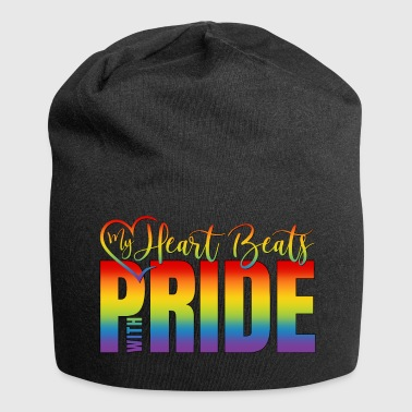 LGBT Gay Pride Logo Heart My Heart Beats With Pride - Jersey Beanie